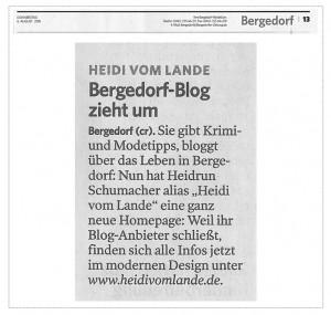 HeidivomLande, Bergedorfer Zeitung, Blogumzug, Bergedorf