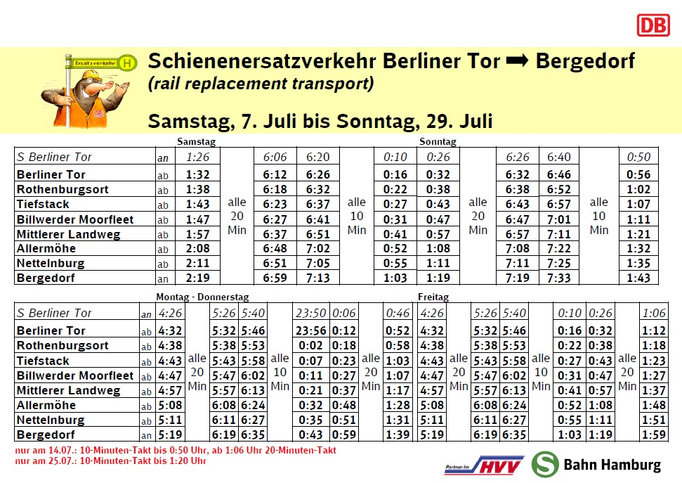 HVV, S-Bahnen, Ersatzverkehr, Berliner Tor, Bergedorf, HVV, Fahrplanänderungen, Weichen, Gleisarbeiten, Sommer, 2018, Informationen, Bergedorf Blog, Bergedorf, Hamburg