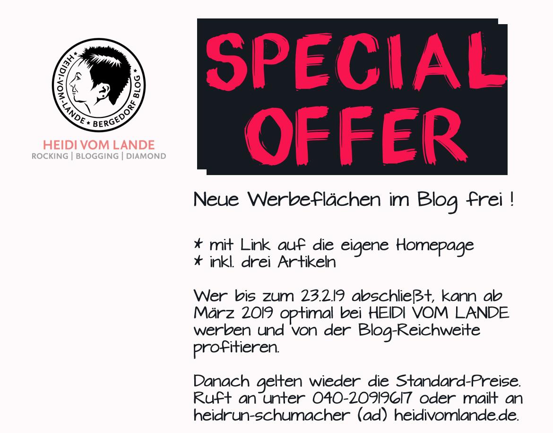 Special Offer, freie Werbeplätze, Werbebanner, Blog, Hamburg, Bergedorf, optimal werben, sponsored posts, Werbung, Spezialangebot, März 2019