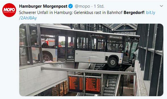 Bergedorf, Bus kracht durch Gls, Bahnhofshalle, S-Bahnhof, Bergedorf, hamburg, schwerer Unfall, Bergungsarbeiten, Nachrichten