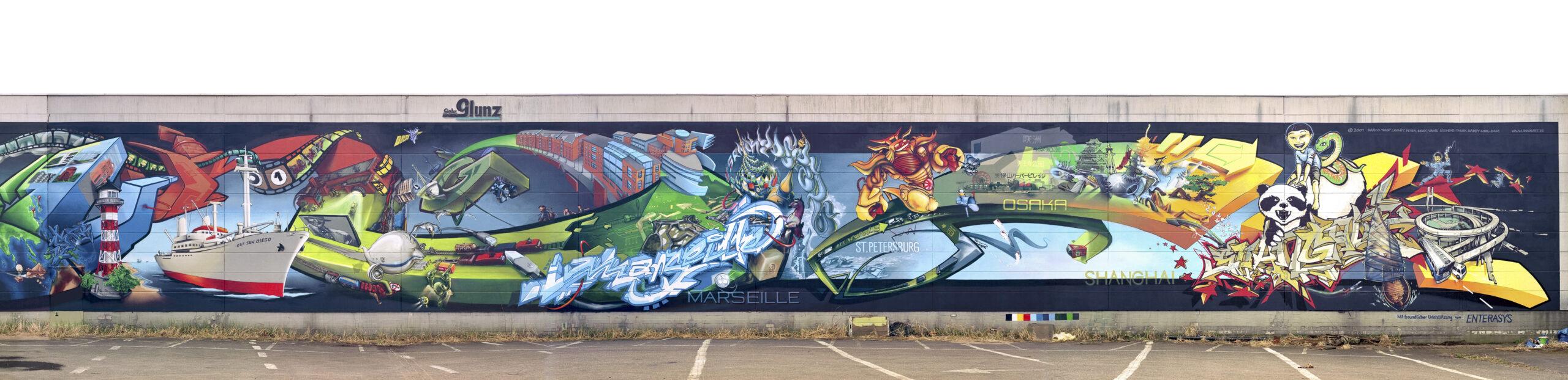 Graffiti, Graffito, größtes Graffiti der Welt, Mammut-Gemälde, Hamburger Hafen, Hallenwand Bergedorf, Bergedorfer Künstler, Attraktion, Dock 10, Blohm und Voss, Zeitreise