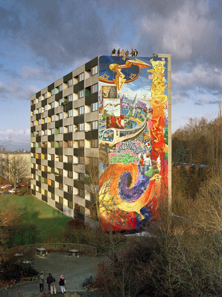 Zeichen der Zeit, höchstes Graffiti der Welt, 1995, 1996, Guiness Buch der Rekorde, Lohbrügge, Otto-Schumann-Weg, Weltrekord, Wandmalerei, Hamburg, Bergedorf, Homage, Graffiti-Künstler, Graffito