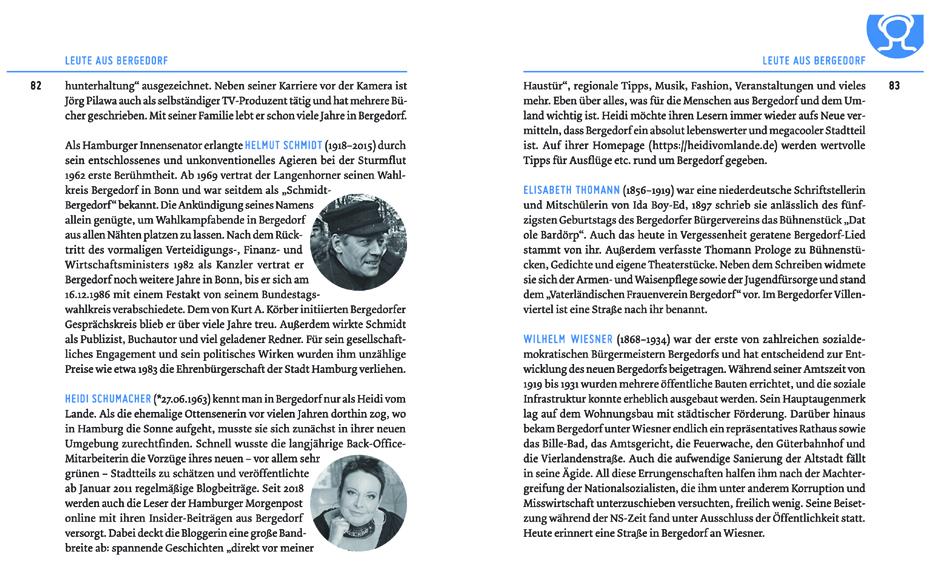 Bergedorfbuch, Bergedorf, Silke Schopmeyer, Neues entdecken, Hamburg, Deichkrimi, Autorin, Helmut Schmidt, Jörg Pilawa, HEIDI VOM LANDE, Bloggerin, Wissenswertes über Bergedorf, Empfehlungen, bekannte Namen